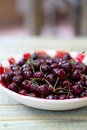 Fresh cherries in red gingham plate sweet on rustic table Royalty Free Stock Photography