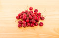 Fresh Cherries on a Wood Table Stock Photography