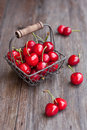 Fresh cherry in a basket Royalty Free Stock Photo