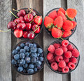Fresh cherry, strawberry, blueberry and raspberry Royalty Free Stock Photo