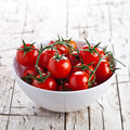Fresh cherry tomatoes in a bowl Stock Images