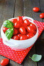 Fresh cherry tomatoes in a tureen food closeup Royalty Free Stock Photography