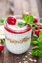 Fresh cherry yogurt with oats and chia seeds Royalty Free Stock Photo