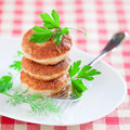 Fresh chicken cutlets with herb on white plate selective focus Royalty Free Stock Photos