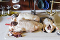 Fresh chicken on the kitchen table Royalty Free Stock Image