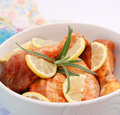Fresh chicken some with lemon slices Stock Photography