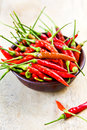 Fresh chili bird s eye in a small wooden bowl Stock Photography