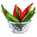 Fresh chilli in the glass bowl Stock Images