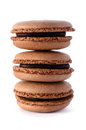 Fresh chocolate macarons Stock Photo