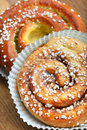 Fresh cinnamon buns photo of Royalty Free Stock Photo