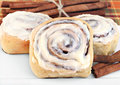 Fresh cinnamon buns with selective foucs. Stock Photo