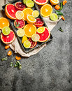 Fresh citrus fruit in the box. Royalty Free Stock Photo