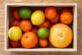 Fresh citrus fruits mix in a box Royalty Free Stock Photo