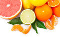 Fresh citrus fruits whole half green leaves food ingredient photo Stock Photo