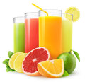 Fresh citrus juices Royalty Free Stock Photography