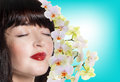 Fresh clean skin face beautiful japanese girl spa care Stock Photography