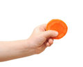 Fresh clean slice carrot in baby hand Stock Images