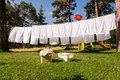 Fresh Clean White Towels Drying On Washing Line