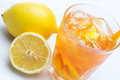 Fresh cocktail with lemon glass of Stock Images