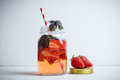 Fresh cocktail with strawberry and basil in glass Royalty Free Stock Photo