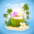 Fresh coconut on a sand with palms travel background Royalty Free Stock Images