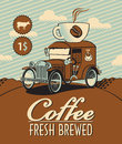 Fresh coffee car banner with and cup of on roof Royalty Free Stock Photo
