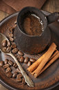 Fresh coffee in cezve Royalty Free Stock Photo