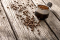 Fresh coffee grinds and roasted beans Royalty Free Stock Photo