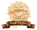 A fresh coffee label Royalty Free Stock Image