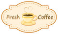A fresh coffee logo with a cup of brewed coffee illustration on white background Stock Photo