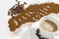 Fresh Coffee Written in Ground Coffee Royalty Free Stock Photography