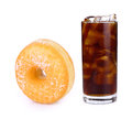 Fresh coke in glass and sandwich cookies isolated on a white Royalty Free Stock Photo