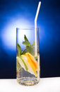 Fresh cold cocktail in glass with sliced citus cituses Stock Photography