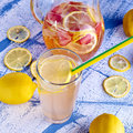 Fresh and cold ginger lemonade with strawberry Royalty Free Stock Photo