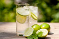 Fresh cold refreshment drink mineral water soda with lime and mint on wooden table in summer Stock Photography