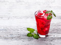 Fresh cold strawberry tea Royalty Free Stock Photo