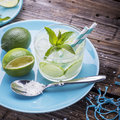 Fresh cold water with lemon, cucumber, ginger, mint and ice Royalty Free Stock Photo