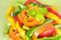 Fresh Colorful Assorted Sliced Peppers Stock Photos