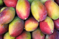 Fresh colorful mangoes tropical fruit farmers market on display at outdoor in rio de janeiro brazil Stock Photography