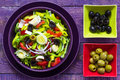 Fresh colorful vegetable salad platter wooden table Royalty Free Stock Photo