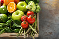 Fresh colorful vegetables and fruits Royalty Free Stock Photo