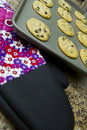 Fresh cookies and oven mitten Royalty Free Stock Images