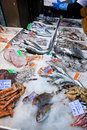 Fresh cool fish on ice at street market Stock Photography