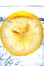 Fresh cool water with ice and lemon Royalty Free Stock Photo