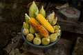 Fresh corn cob grew up on a non gmo field in indonesia presented in a ceramic bowl nobody macro perspective agriculture non Royalty Free Stock Photo