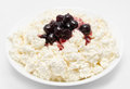 Fresh cottage cheese with cherry jam  Royalty Free Stock Photos