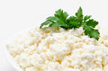 Fresh cottage cheese with parsley  Stock Photos