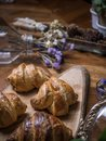 Fresh croissant a flaky, viennoiserie pastry. Royalty Free Stock Photo