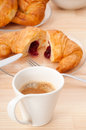 Fresh croissant french brioche and coffee Stock Photo