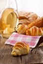 Fresh croissants and breakfast domestic food Stock Photos